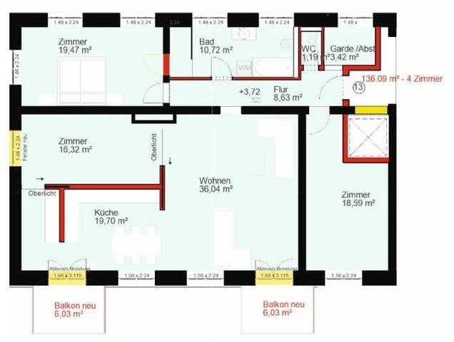 Grundriss Wohnung Nr.13 Obergeschoss