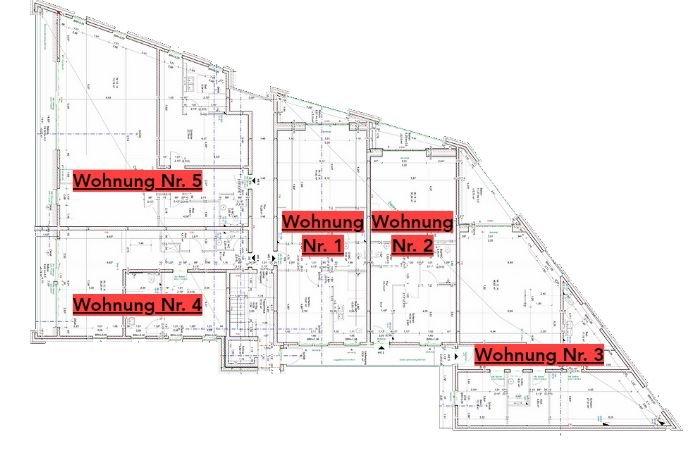 Lage der Wohnungen im 1. Obergeschoss