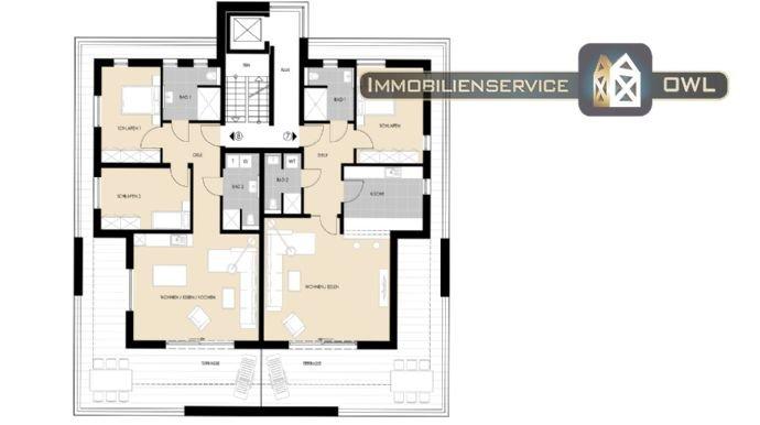 Grundrisse Penthouse (2 Varianten) mit je 117qm