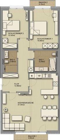 Grundriss_3-Zi.-Wohnung_zwei Balkone