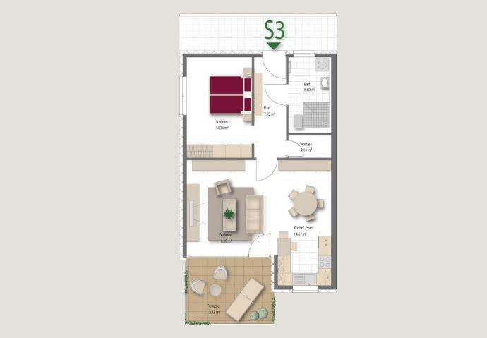 Haus Südblick Wohnung ca 72 qm Beispiel