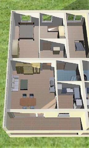 3D Modell mit Einrichtungsbeispiel Südansicht
