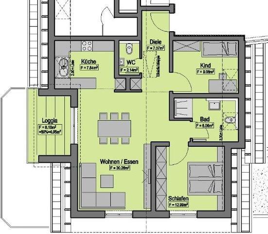 Wohnung-Nr. 7 = 79,47m² + 25,55m²