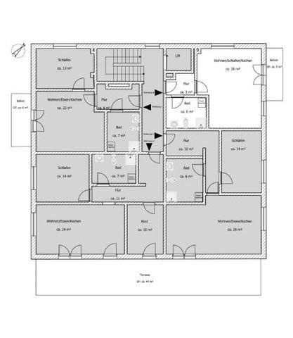 Der Grundriss Wohnung 4 und Gesamtansicht vom 1.OG