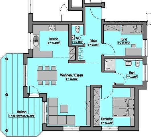 Wohnung-Nr. 1 = 95,33m²