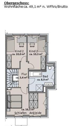 Haus 1 - Grundriss Obergeschoss