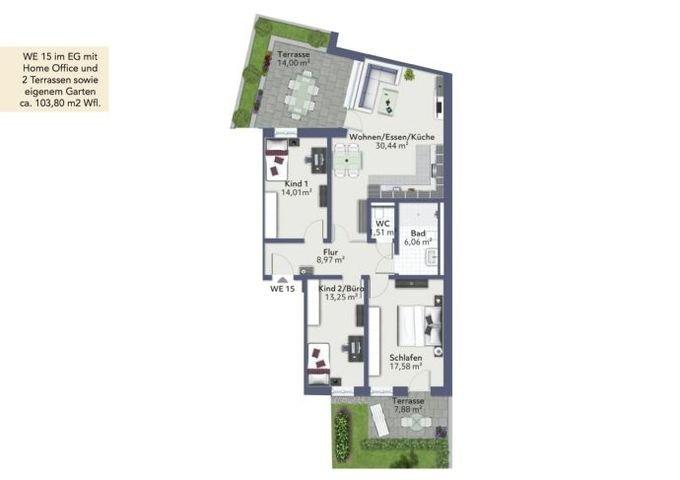WE 15 - EG mit 2 Terrassen u. Garten