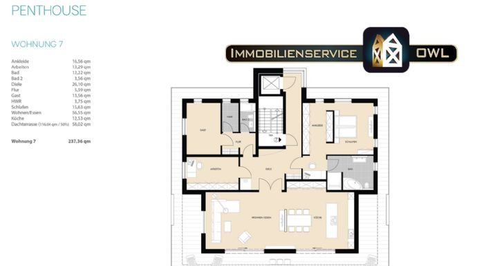 Grundriss Großes Penthouse 240qm