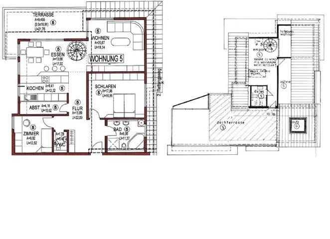 Grundriss Penthouse mit Empore und Dachterrasse
