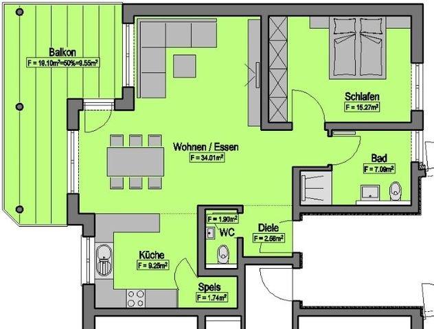 Wohnung-Nr. 2 = 81,37m²