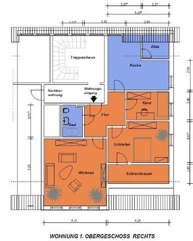 Wohnungsgrundriss ohne Masstab