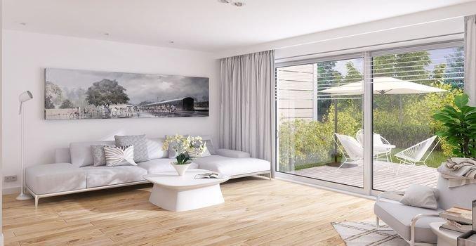 Innenansicht Wohnzimmer und Terrasse