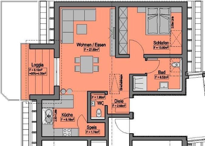 Wohnung-Nr. 8 = 66,53m²  + 20,19m²