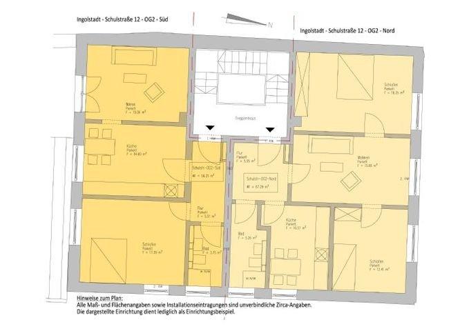 Rechts Grundriss 3 Zi-WE, Links2 Zi Wohnung