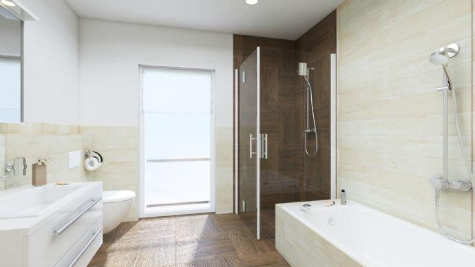 Musterbild Badezimmer mit Badewanne und Dusche