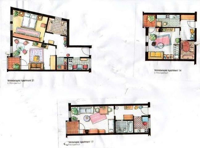 Grundrisse der Wohnungstypen