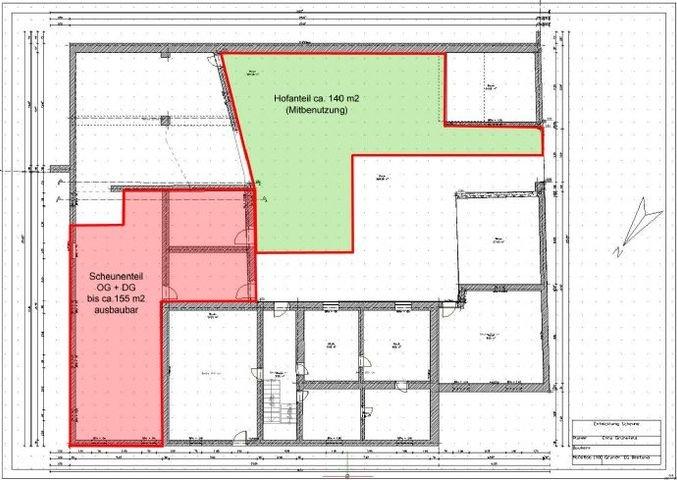 Scheune-Bestand-Teilung Wohnung1 OG u. DG 155m2
