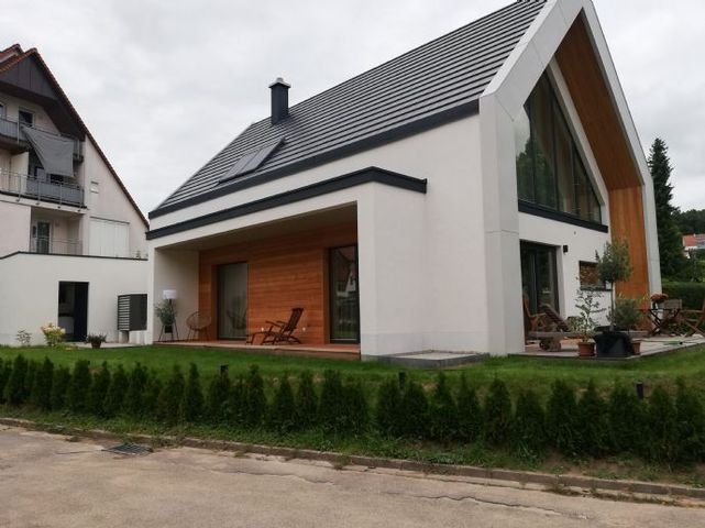 Südosansicht eines erstellten Hauses