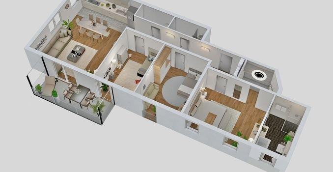 Beispiel Draufsicht 4-Zimmer Wohnung