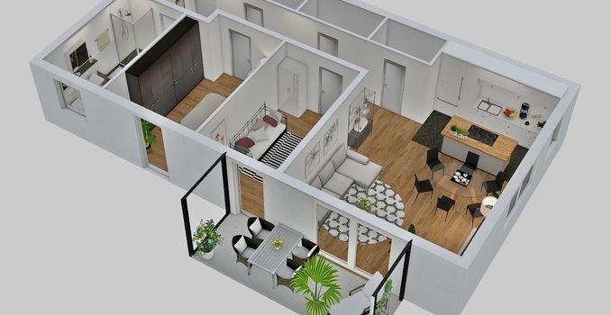 Beispiel Draufsicht 3-Zimmer Wohnung
